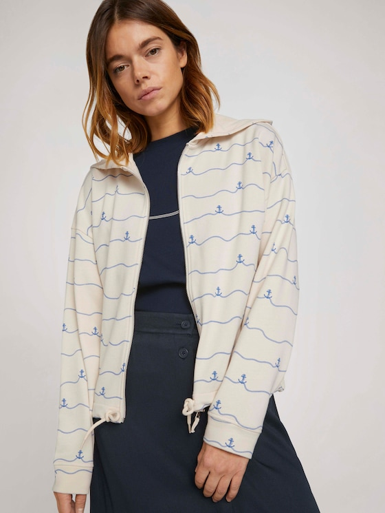 Cropped Sweatjacke mit Print - Frauen - creme stripe anchor print - 5 - TOM TAILOR Denim