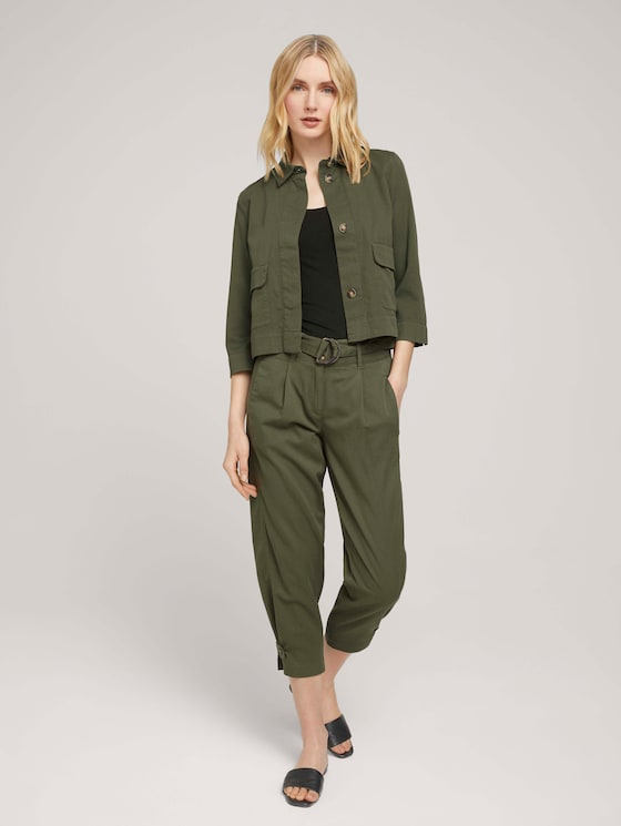 Loose-fit trousers with flap details - Women - Grape Leaf Green - 3 - TOM TAILOR