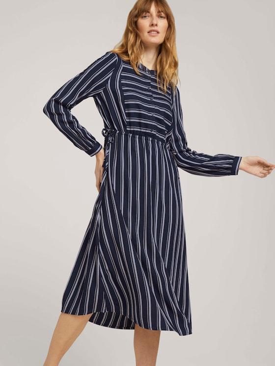 Gestreiftes Blusenkleid mit Tunnelzug - Frauen - navy twill stripe - 5 - TOM TAILOR