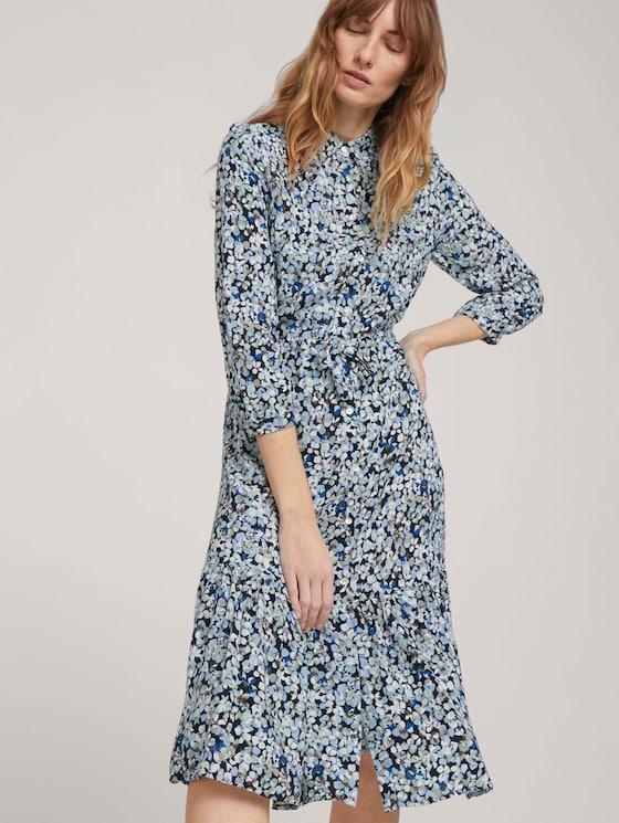 Midi Blusenkleid mit Blumen - Frauen - navy floral design - 5 - TOM TAILOR