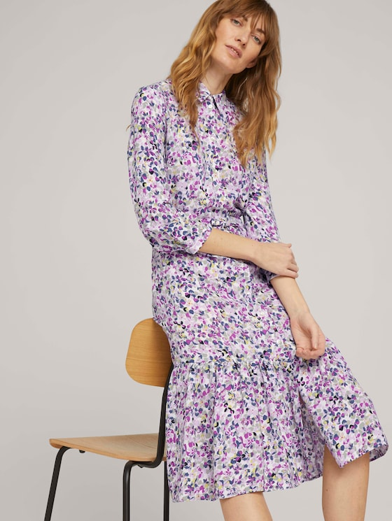 Midi blouse dress with flowers - Women - offwhite floral design - 5 - TOM TAILOR