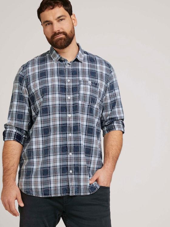 Geruit overhemd met borstzak - Mannen - indigo washed check - 5 - Men Plus