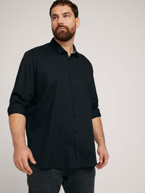 Fein gemustertes Hemd - Männer - Black - 5 - Men Plus