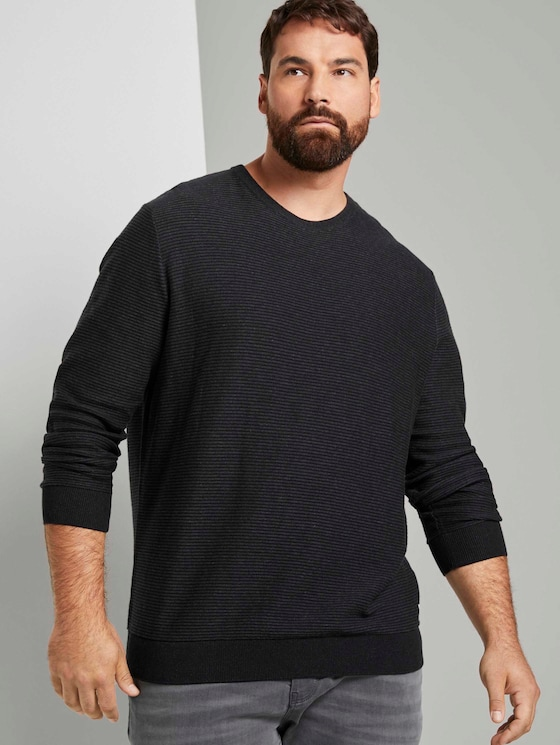 gerippter Pullover - Männer - Black - 5 - Men Plus