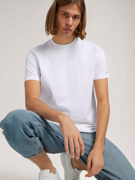 Basic T-Shirt aus Baumwolle - Männer - White - 5 - TOM TAILOR Denim
