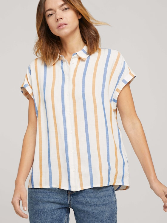 Kurzarm Hemdbluse mit Streifenstruktur - Frauen - creme yellow blue stripe - 5 - TOM TAILOR Denim