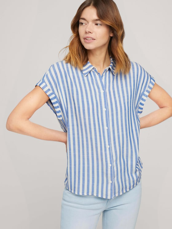 Kurzarm Hemdbluse mit Streifenstruktur - Frauen - mid blue white stripe - 5 - TOM TAILOR Denim