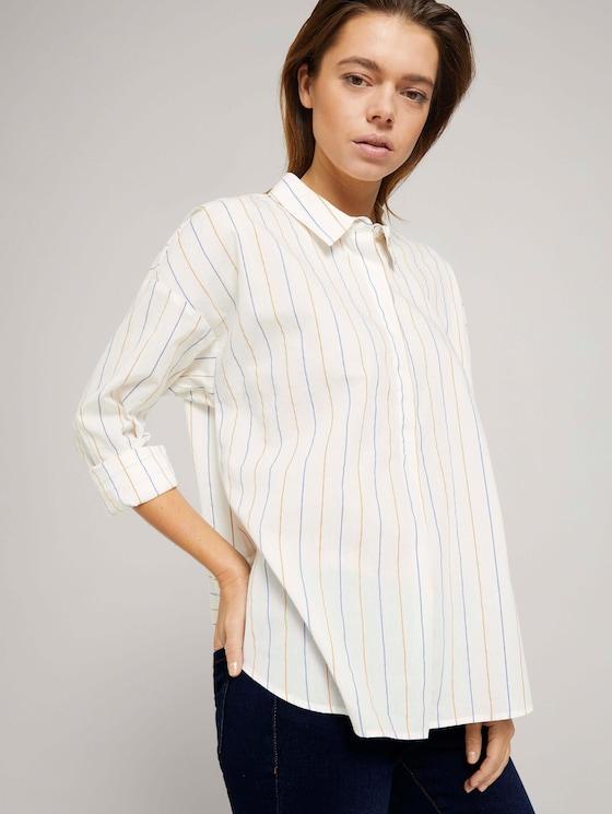 Gestreifte Tunika Bluse mit Bio-Baumwolle - Frauen - small creme blue yellow stripe - 5 - TOM TAILOR Denim