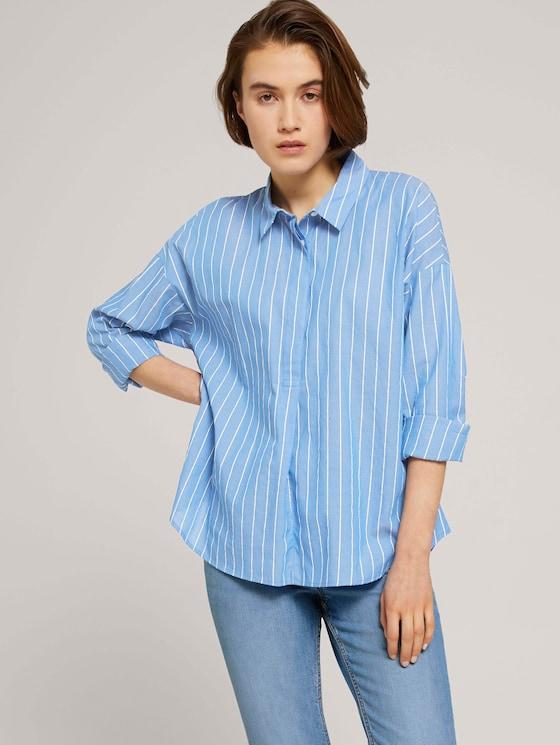 Gestreifte Tunika Bluse mit Bio-Baumwolle - Frauen - mid blue small white stripe - 5 - TOM TAILOR Denim