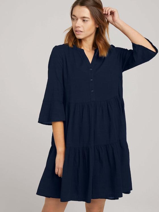 Babydoll mini dress with texture - Women - Sky Captain Blue - 5 - TOM TAILOR Denim