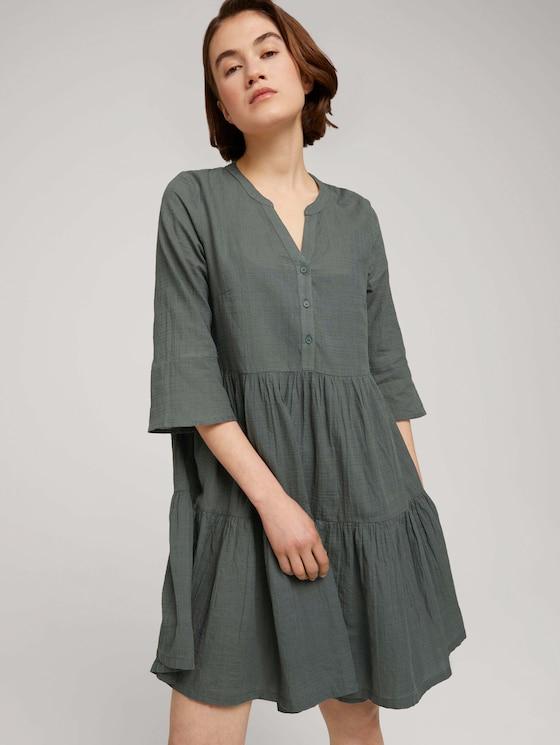 Babydoll Minikleid mit Bio-Baumwolle - Frauen - dusty pine green - 5 - TOM TAILOR Denim