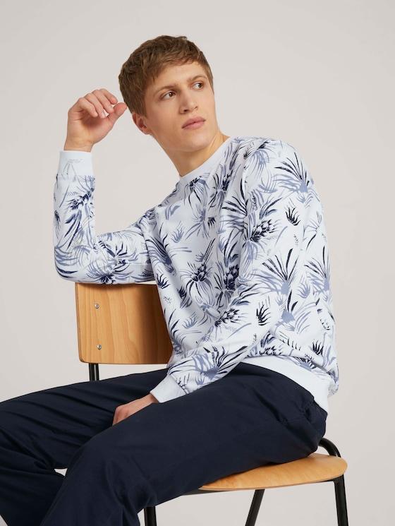 gemustertes Sweatshirt - Männer - white navy thistle print - 5 - TOM TAILOR Denim
