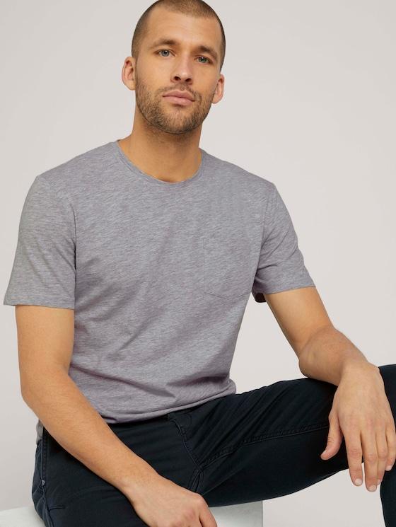 Basic T-Shirt - Männer - Light Stone Grey Melange - 5 - TOM TAILOR
