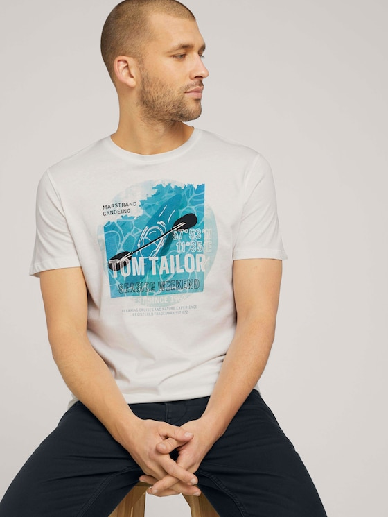 T-Shirt mit Print - Männer - Off White - 5 - TOM TAILOR