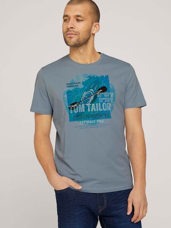 T-Shirt mit Print - Männer - Yonder Blue - 5 - TOM TAILOR