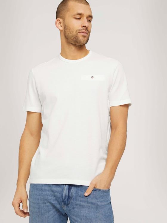 strukturiertes T-Shirt mit Bio-Baumwolle - Männer - Off White - 5 - TOM TAILOR