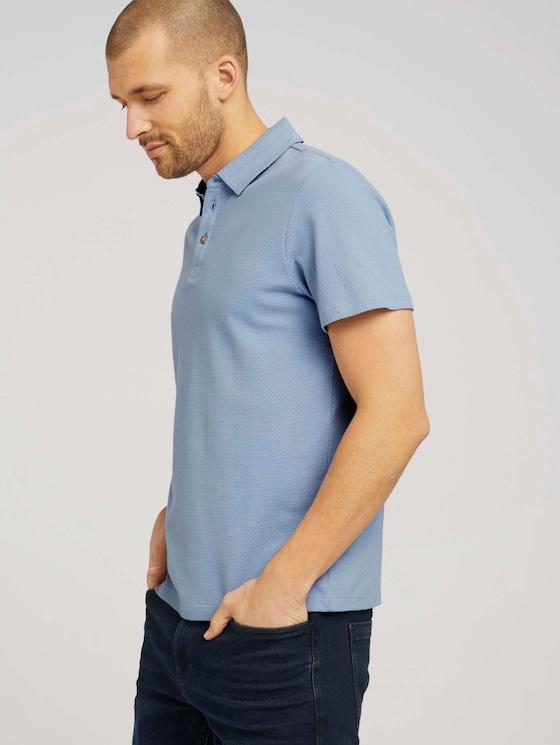 strukturiertes Poloshirt mit Bio-Baumwolle - Männer - Yonder Blue - 5 - TOM TAILOR