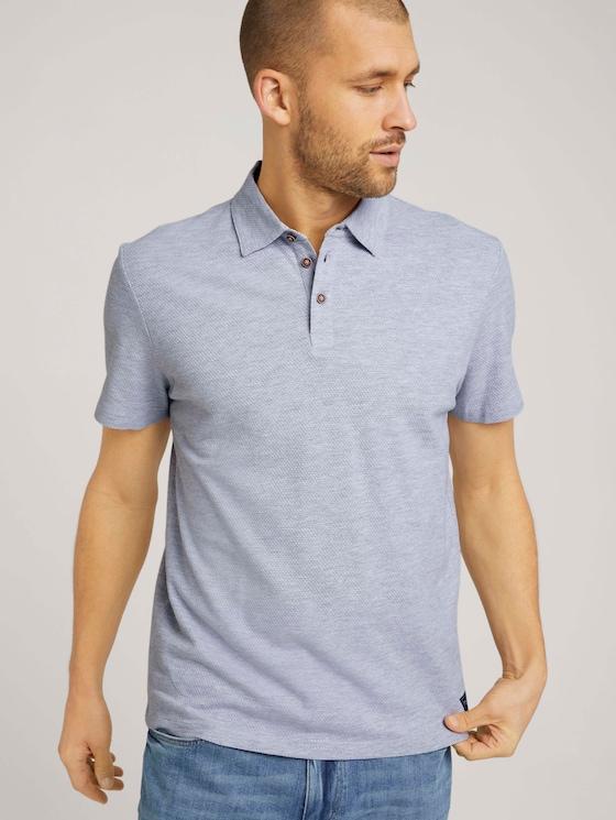 strukturiertes Poloshirt mit Bio-Baumwolle - Männer - Light Stone Grey Melange - 5 - TOM TAILOR