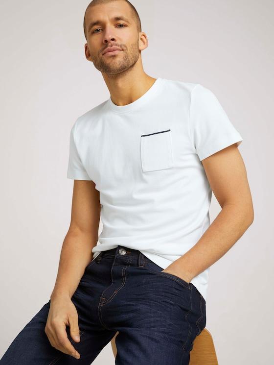 strukturiertes T-Shirt - Männer - Off White - 5 - TOM TAILOR