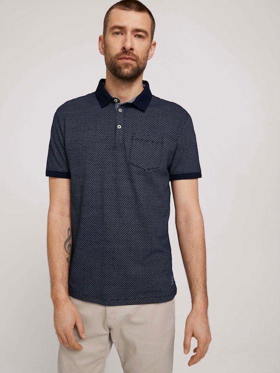 strukturiertes Poloshirt - Männer - navy blue wave design - 5 - TOM TAILOR