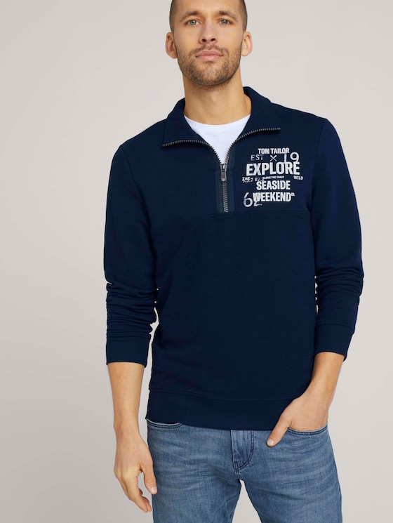 Sweatshirt mit Troyer-Kragen - Männer - Dark Blue - 5 - TOM TAILOR