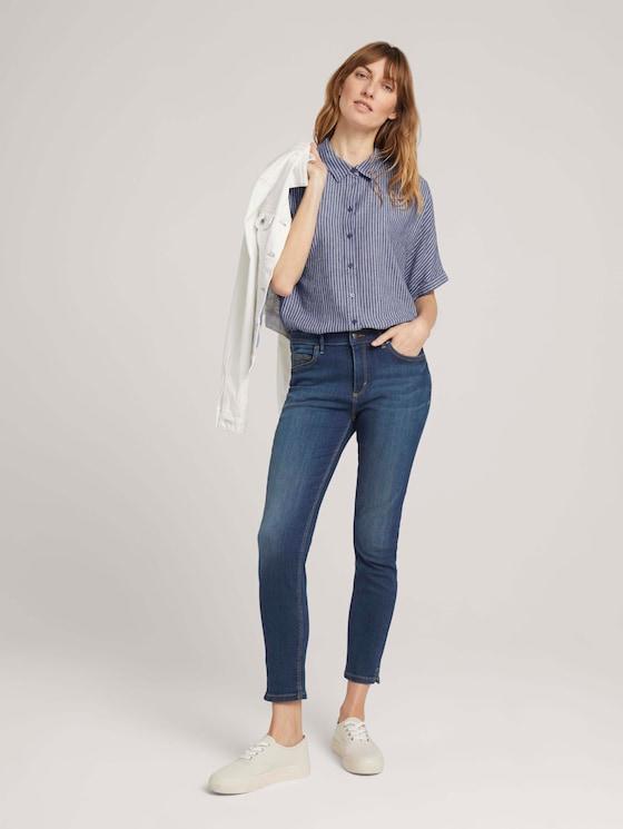 Kate Cropped Skinny Jeans mit Stretch - Frauen - dark stone bright blue denim - 3 - TOM TAILOR