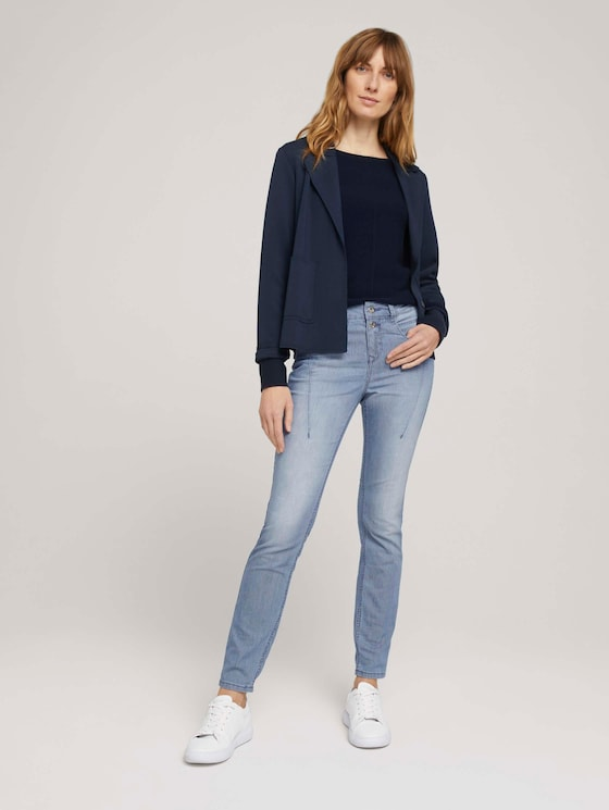 Gestreifte Tapered Relaxed Jeans - Frauen - Clean Mid Stone Blue Denim - 3 - TOM TAILOR