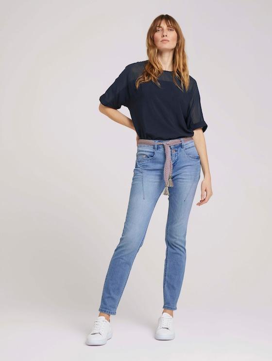 Tapered Relaxed Jeans mit buntem Gürtel - Frauen - light stone wash denim - 3 - TOM TAILOR