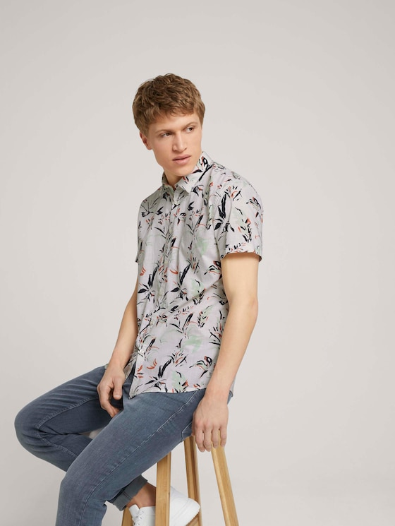 Hemd met bloemenpatroon - Mannen - white abstract flower print - 5 - TOM TAILOR Denim