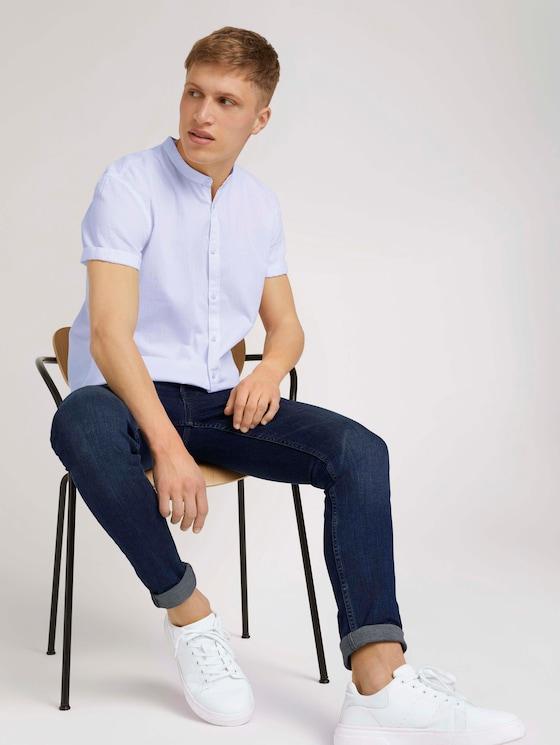 Gemustertes Kurzarmhemd mit Stehkragen - Männer - White - 5 - TOM TAILOR Denim