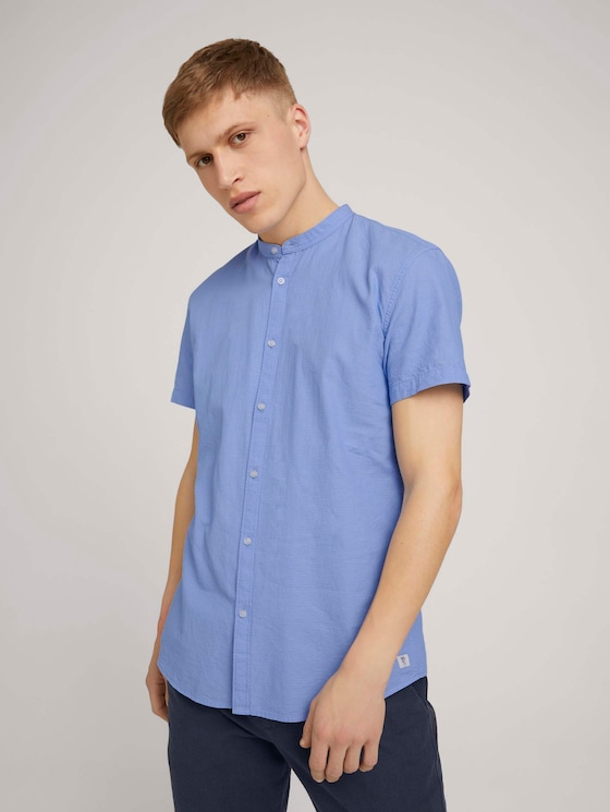 Gemustertes Kurzarmhemd mit Stehkragen - Männer - light blue minimal dobby - 5 - TOM TAILOR Denim