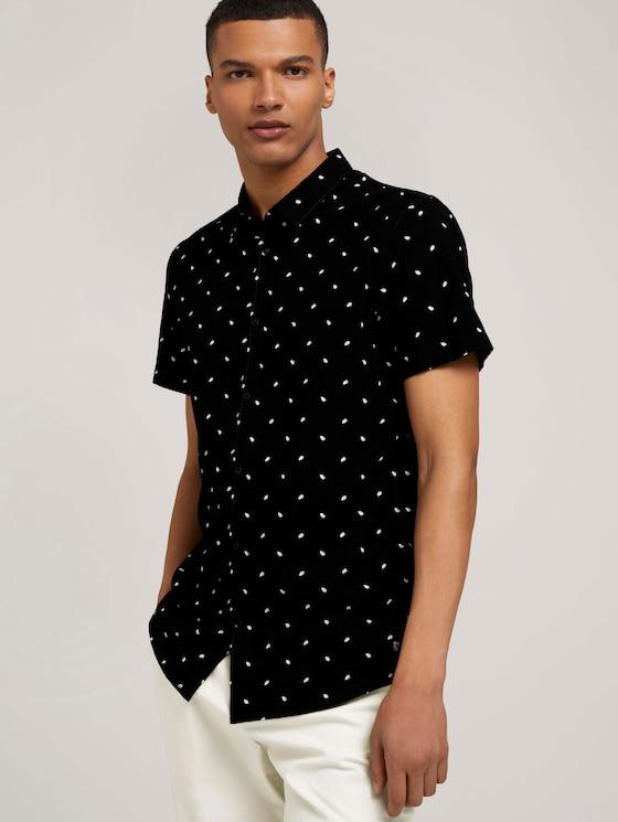 overhemd met korte mouwen en palmprint - Mannen - black mini palm leaf print - 5 - TOM TAILOR Denim
