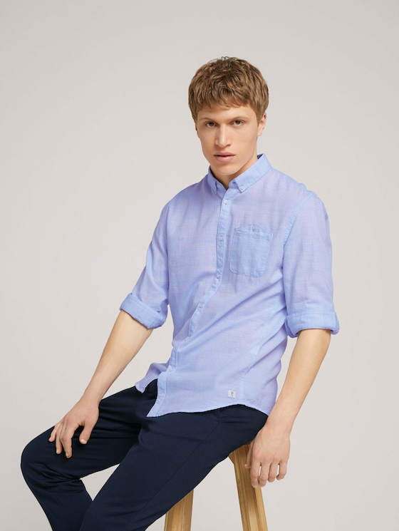 getextureerd overhemd met borstzak - Mannen - light blue  twisted yarn dobby - 5 - TOM TAILOR Denim