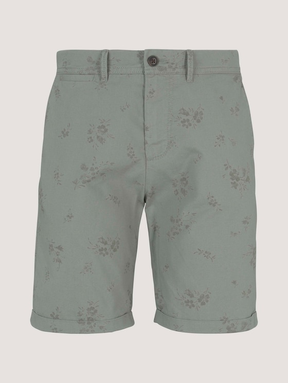 Slim Chino Shorts - Männer - olive shredded flower print - 7 - TOM TAILOR Denim