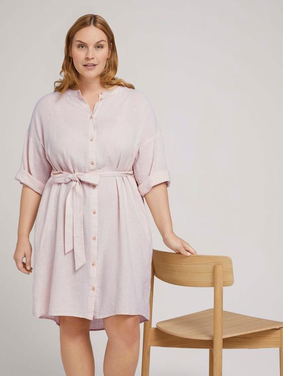 Lockeres Blusenkleid mit Leinen - Frauen - ecru shades vichy - 5 - My True Me