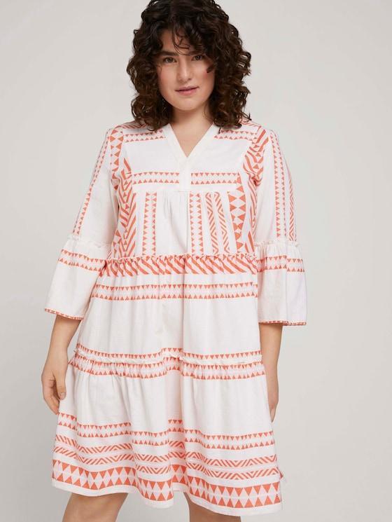 gemustertes Kleid mit Volants und Raffungen - Frauen - white orange large ikat design - 5 - My True Me