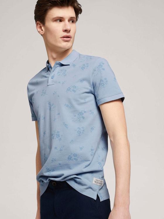 gemustertes Poloshirt - Männer - blue shredded flower print - 5 - TOM TAILOR Denim
