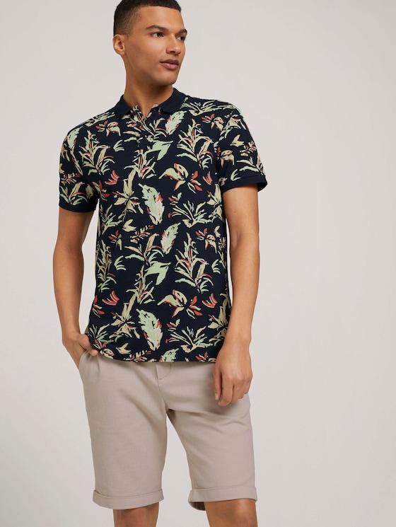 gemustertes Poloshirt - Männer - navy abstract flower print - 5 - TOM TAILOR Denim