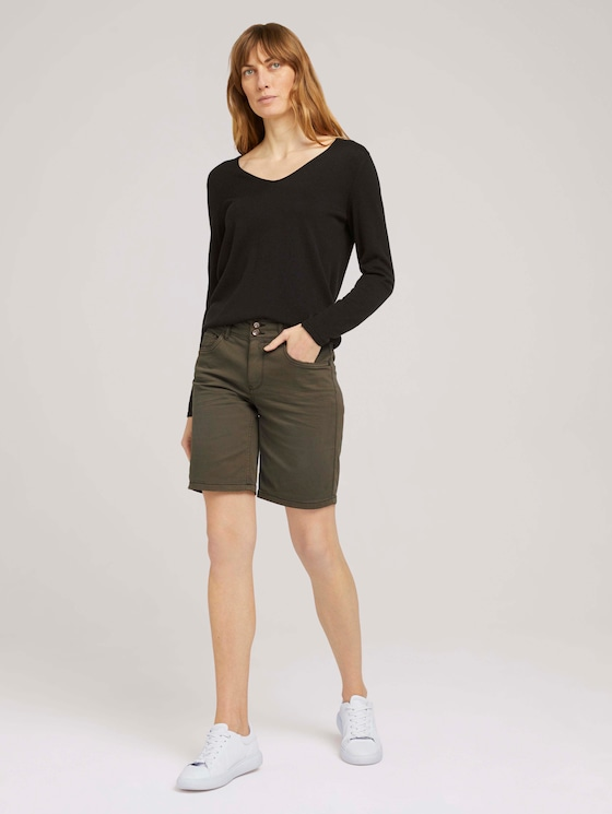 Alexa Slim Bermudashorts - Frauen - Grape Leaf Green - 3 - TOM TAILOR