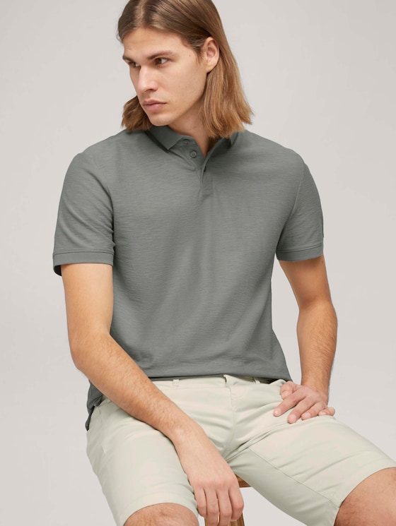 Poloshirt in Melange Optik - Männer - Greyish Shadow Olive - 5 - TOM TAILOR Denim