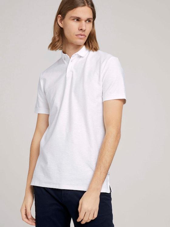 Poloshirt in Melange Optik - Männer - White - 5 - TOM TAILOR Denim