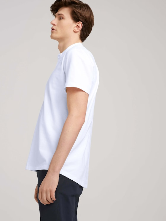 Kurzarmhemd mit Stehkragen - Männer - White - 5 - TOM TAILOR Denim