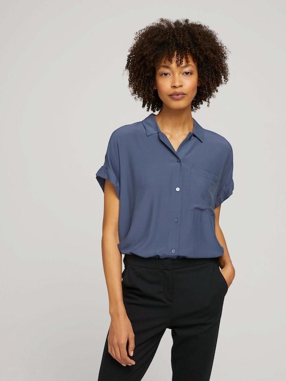 kurzärmlige Hemdbluse - Frauen - Vintage Indigo Blue - 5 - Mine to five