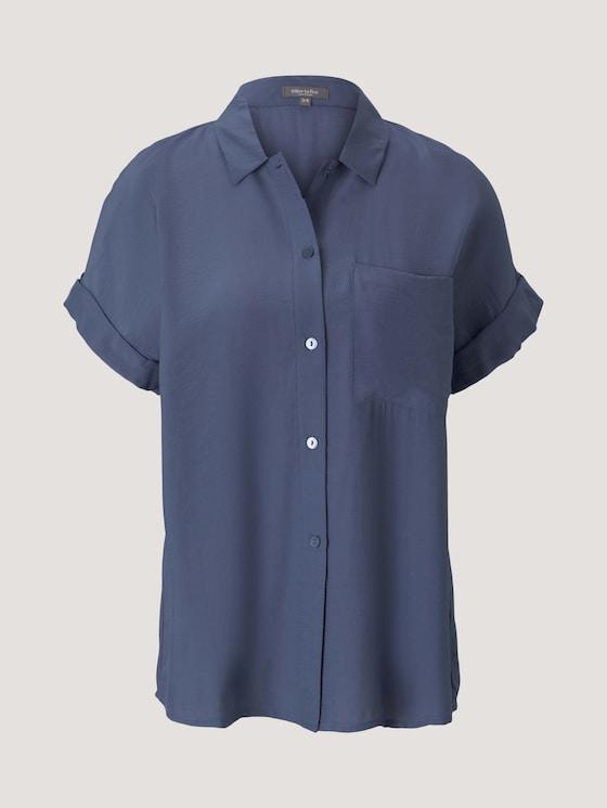 kurzärmlige Hemdbluse - Frauen - Vintage Indigo Blue - 7 - Mine to five
