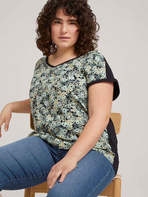 Curvy - Gemustertes T-Shirt mit LENZING™ ECOVERO™ - Frauen - multicolor flowers - 5 - My True Me