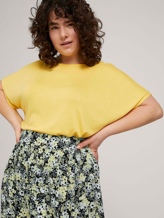 Jersey T-Shirt mit Knopfleiste - Frauen - mellow yellow melange - 5 - My True Me