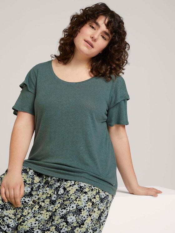 T-Shirt mit Rüschenärmel - Frauen - washed jasper green - 5 - My True Me