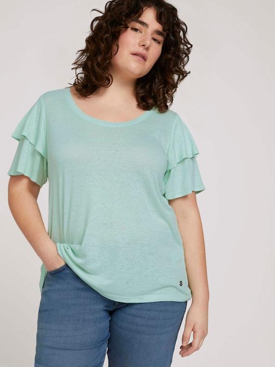 T-Shirt mit Rüschenärmel - Frauen - pale mint - 5 - My True Me