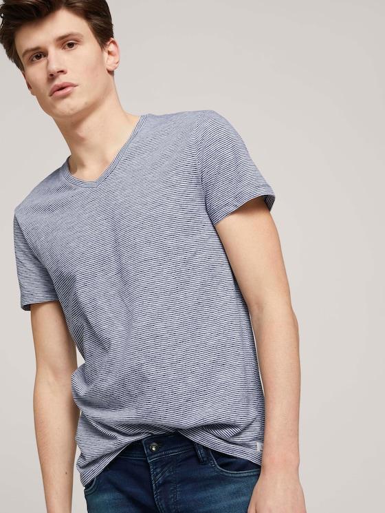 gestreiftes T-Shirt - Männer - navy white yd melange stripe - 5 - TOM TAILOR Denim