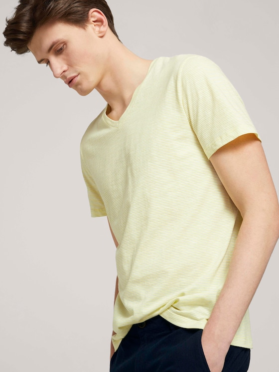 gestreiftes T-Shirt - Männer - yellow white yd melange stripe - 5 - TOM TAILOR Denim